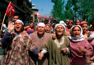 Women in the Kashmir region during a demonstration against their occupation.