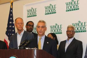Mayor Rahm Emanuel with some Englewood aldermen, announcing construction of a new Whole Foods Market.