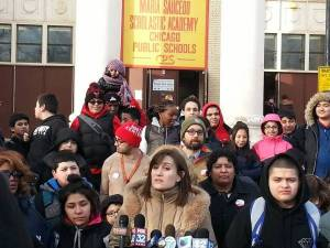 Members of the Saucedo Elementary School community at a press conference last week.