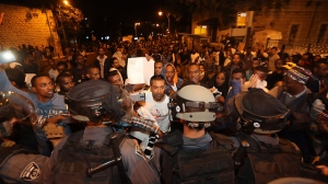 Ethiopian Israelis protesting occupation and police brutality this past weekend.
